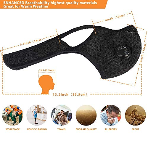 Dust Mask with Filters, Reusable Activated Carbon