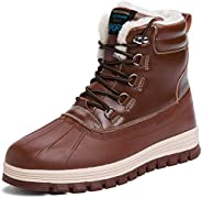 todaysunny Men's Snow Boots Winter Boots Fully Fur Lining Ankle Boots Lace Up Athletic Casual Walking Ankle Bo