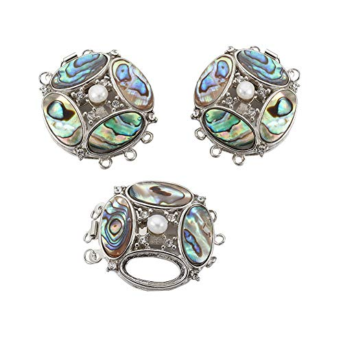 PandaHall 1 Set Half Round Abalone/Paua Shell Box Clasps with Brass Findings for DIY Bracelets Necklace Making, 36.5x31x9mm, Hole: 1.8mm
