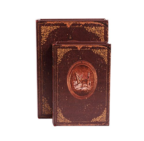 WaaHome Decorative Book Boxes Faux Wood Leather Jewelry Book Box Set with Deer Decorations, Set of 2