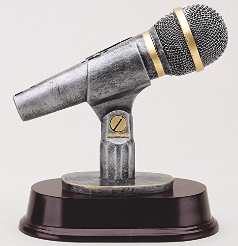 Microphone Trophy with 3 lines of custom text -