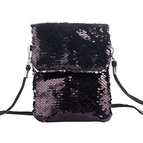 Bag Crossbody Bag Shoulder Black Mermaid amp;silver BAOBAO Envelope Purse Sequin Magic Bag ICXHqxBwW