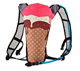 Hydration Backpack with Fun Ice Cream Design | Water Pack Backpack with Bladder for Festivals, Concerts, Hiking, Biking, Running, Camping, Skiing, and Outdoor Sports | Holds 2 Liters of Liquid