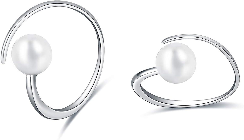 Silver and Pearl Sphere Hoop Earrings