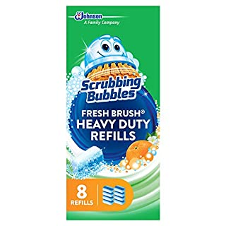 Scrubbing Bubbles Fresh Brush Heavy Duty Disposable Toilet Cleaner Wand Refills, Remove Toilet Bowl Stains and Limescale, 8 ct- Pack of 8 (64 Total Refills)