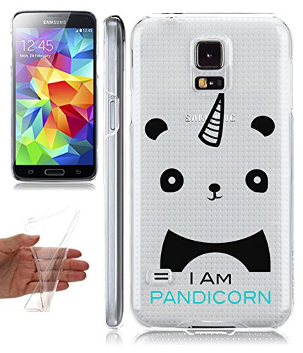 buy popular 979f8 f1ba5 Amazon.com: Galaxy S5 Clear Case Iam Pandicorn Cute Panda Hipster ...