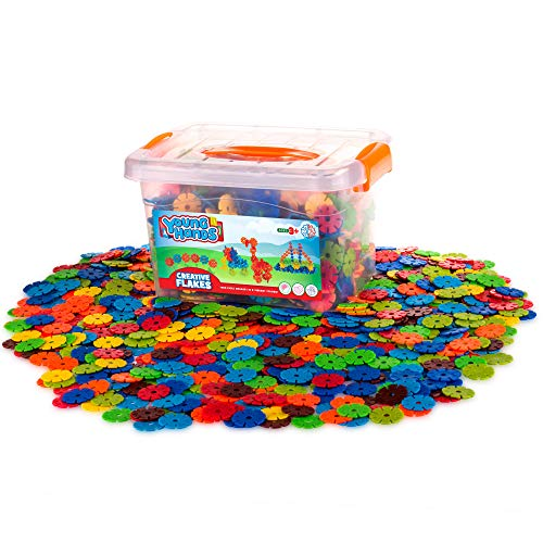 Creative Kids Flakes - 1400 Piece Interlocking Plastic Disc Set for Safe, Fun, Creative Building - Educational STEM Construction Toy for Boys & Girls - Non Toxic - Ages 3 and Up