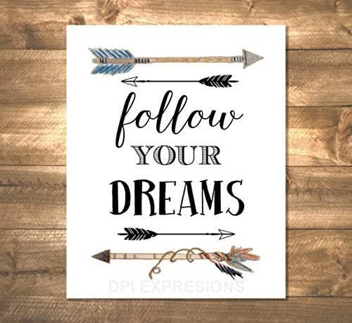follow your dreams art print inspirational