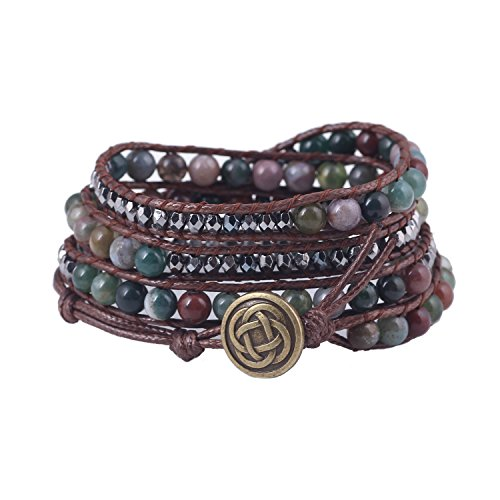 Bonnie Color Crystal Bead Leather Bracelet Flower Clasp Alloy Skull (indian - Claddagh Bracelet Watch