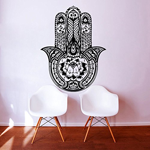 Wandtattoo Yoga Fatima Hand Hamsa Indian Buddha Ganesh Abziehbilder Lotus-Vinylaufkleber -Dekor Schlafzimmer Studio MN416