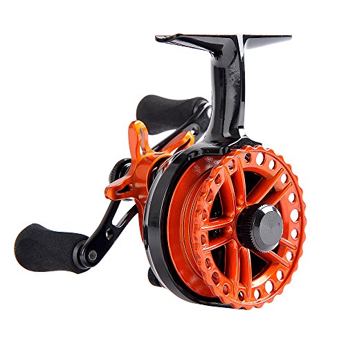 Fiblink Inline Ice Fishing Reel Right/Left in Line Ice Reel with 4+1 Ball Bearings (Orange, Left Handed)