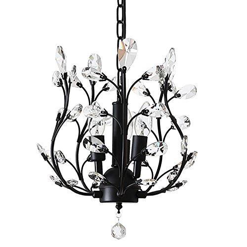 Cheap Ganeed Vintage K9 Clear Crystal Chandeliers,Ceiling Lighting,Pendant Lighting Flush Mounted Fixture with 3 Light for Living Room Dinning Room Restaurant Porch Hallway (Black)