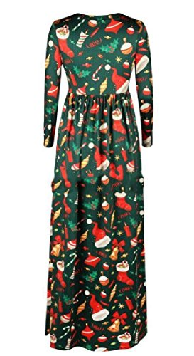 Confortables Femmes Poches De Fleurs De Noël Manches 3/4 Robe De Plage Maxi Vert