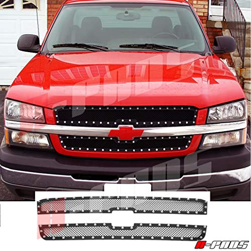 A-PADS 2PC Upper Black Mesh, Silver Rivets, Grille for Chevy SILVERADO 1500 03-2005/2500 3500 03-2004 / AVALANCHE 2003-2006 (Without Body Cladding) - OVERLAY