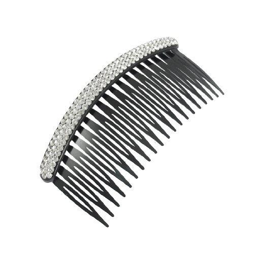 eDealMax Tono argento con strass banda plastica nera pettine dei capelli per le signore