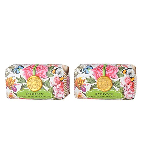 Michel Design Works Bath Soap Bar, Peony, Large Bundle (2 Pack) (Peony Apparel)
