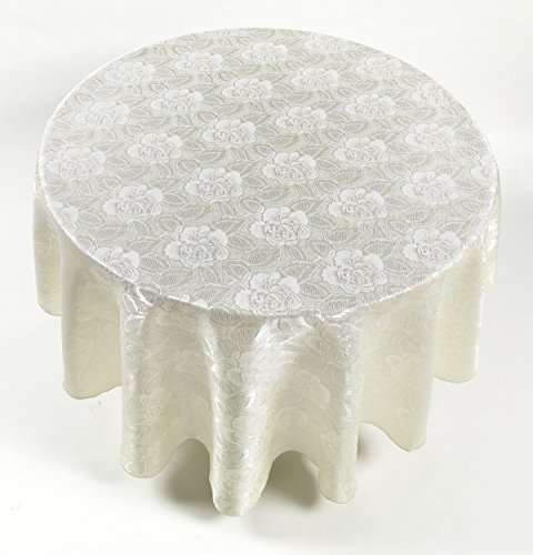 """Carnation""""""""""""""""Rose Damask 70"""""""" Round Fabric Tablecloth in Ivory,"""