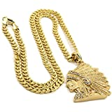 "Mens Gold Plated Hip-Hop Iced Cz Indian Head Face Pendant 5mm 24"" Cuban Chain Necklace D537"