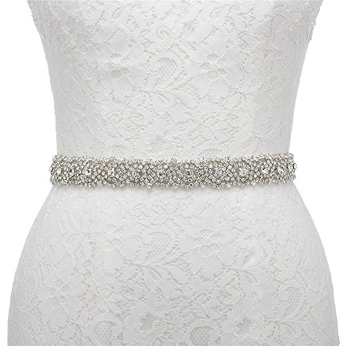 AW Crystal Bridal Sash Rhinestone Belt Beaded Wedding Dress Belt with Satin Ribbon, White Rhinestone Dress With Crystals