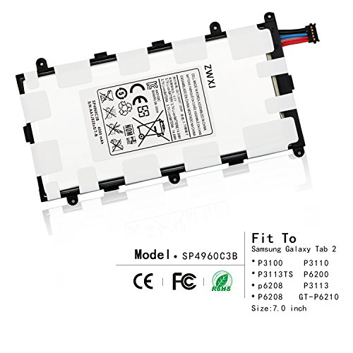 ZWXJ Replacement Tablet SP4960C3B battery(3.7V 4000MAH)For Samsung Galaxy Tab 2 7.0 P3100 P3110 P3113TS P6200 p6208 P3113 P6208 P3100 Plus GT-P6210 Sgh-t869 Aa1c426bs/t-b SP4960C3B - Tablet Battery Replacement