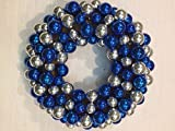 Silver and Blue Ornament Wreath for Front Door Christmas Hanukkah Winter Indoor Holiday Decor 16 Inch