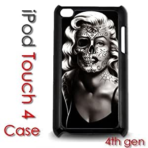 IPod Touch 4 4th gen Touch Plastic Case - Marilyn Monroe Tattoo Skull Face dia de los muertos