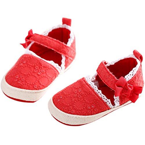 etrack-online Bañador Solid Bowknot Suave Parte inferior flor Prewalker zapatos amarillo amarillo Talla:12-18months rosso