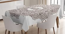 Ambesonne Occult Decor Tablecloth, Lace Mandala Symbol with The Eye of Providence Inside Alchemy Boho Ethnic Magic Icon, Rectangular Table Cover for Dining Room Kitchen, 60x90 Inches, Brown White
