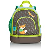 Lassig Kids Cute Backpack for Pre-School or Kindergarten with chest strap, name badge and drink bottle holder, Little Tree Fox