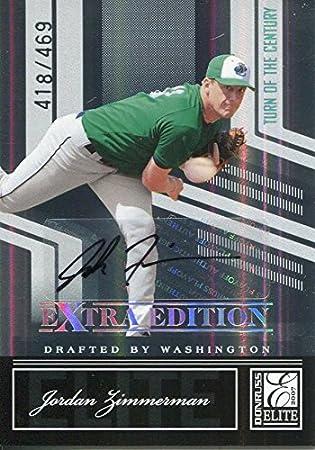 Jordan Zimmermann Autographed 2007 Donruss Elite Rookie Card - Baseball Slabbed Autographed Cards