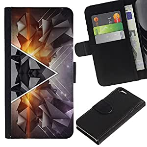 KingStore / Leather Etui en cuir / Apple Iphone 6 / Arte Polígono Triángulo Resumen del inconformista