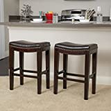 Great Deal Furniture Jaeden Backless Faux Leather Counter Stool | Set of 2 | in Brown,