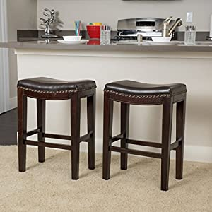 Two leather seat stools with wooden bases