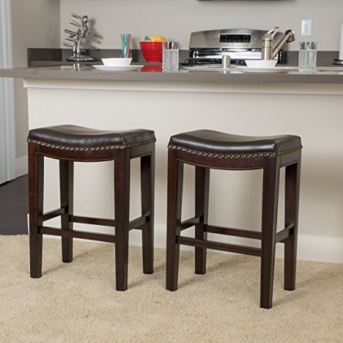 Great Deal Furniture | Jaeden | Backless Faux Leather Counter Stool | Set of 2 | in Brown