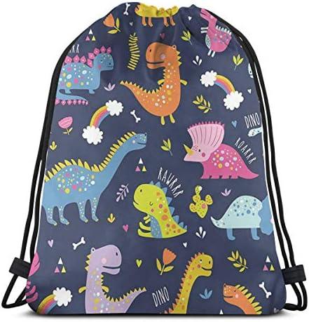 かわいい面白い恐竜巾着バッグバックパックジムダンスバッグハイキングビーチ旅行バッグ36 x 43 cmのバックパック
