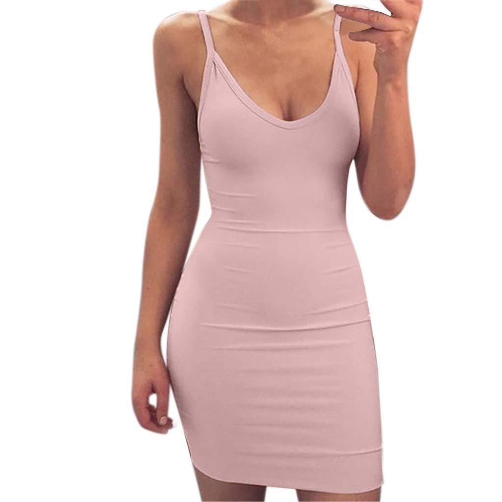 Xiaojmake Women's Sexy Bodycon Spaghetti Strap Cami Slip Under Mini Dress Pink