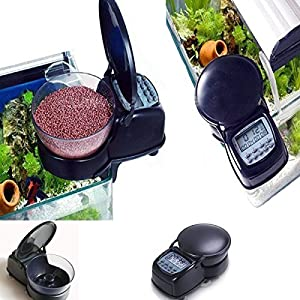 Fmji Automatic Aquarium Fish Feeder, Mini Fish Food Feeder Fish Tank Programmable Timer with LCD Display &Suction Cups for Weekend/Holiday 4