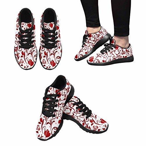 Interestprint Mujeres Jogging Running Sneaker Ligero Go Easy Walking Comodidad Deportes Zapatos Atléticos Valentines Patrón Multi 1