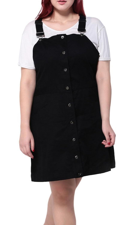 Bigood Plus Size Liebe Damen Träger Kleid Minikleid Freizeitkleid Ohne Shirt Schwarz