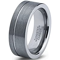 Tungsten Wedding Band Ring 8mm 6mm for Men Women Comfort Fit Grey Pipe Cut Brushed Polished Line FREE Custom Laser Engraving Lifetime Guarantee