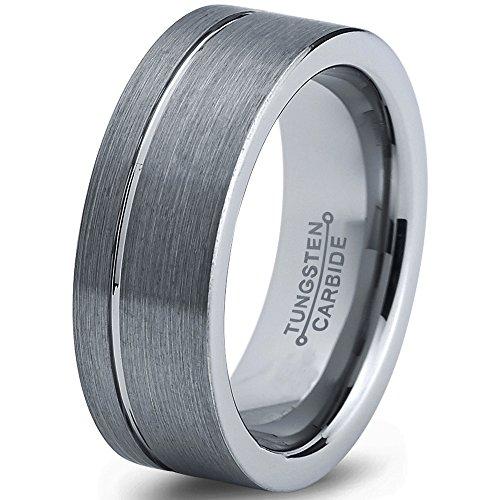 Tungsten Wedding Band Ring 8mm 6mm for Men Women Comfort Fit Grey Flat Cut Polished FREE Custom Laser Engraving Lifetime Guarantee