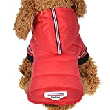 Minisoya Pet Dog Cat Puppy Winter Warm Clothing Sweater Costume Hooded Jacket Coat Apparel (Red, L)