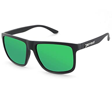 8d8b77559b Peppers Dividend Sunglasses Matte Black With Brown Polarized Emerald Green  Mirror Lenses