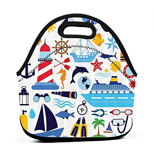 Convenient Lunch Box Tote Bag Nautical Decor Collection,Diving Equipment Scuba Life Jacket Sunshine Tropical Tourist Enjoyment Image,Mustard Navy Blue Red,lunch bag back pack for adults (Stitch Insulated Jacket)