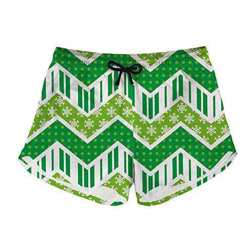 5c7861b0ae76 doginthehole Women's Casual Swim Trunks Quick Dry Boardshort Beach Shorts  Green Print XS