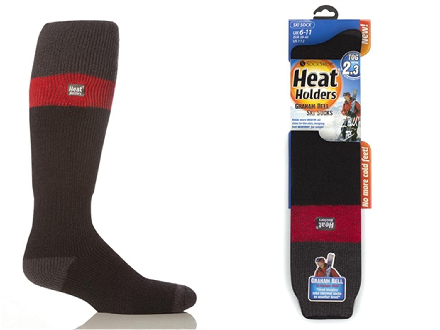 1 Paar Herren Original thermisch Winter Warm Wärme Inhaber Ski Socken 6-11 uk, 39-45 EUR, 7-12 usa Rot / Charcoal / Schwarz
