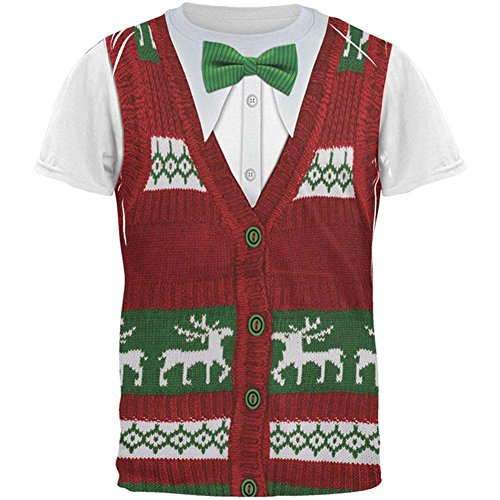 - Old Glory Ugly Christmas Sweater Vest Costume All Over Adult T-Shirt - 2X-Large