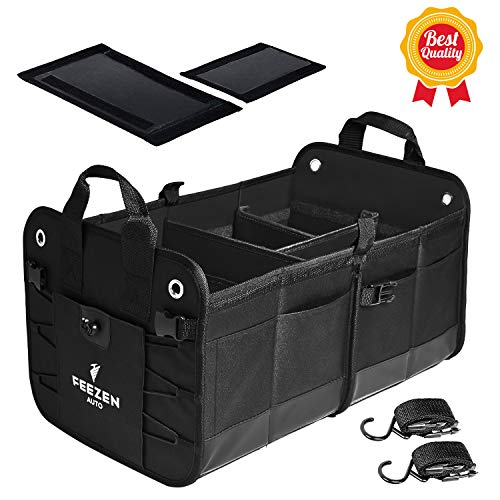 Feezen Car Trunk Organizer for SUV, Truck, Auto. Durable Collapsible Cargo Storage. With Extremely Strong Non-Slip Bottom Strips & Black Straps to Prevent Sliding. Waterproof Bottom, Durable Materials
