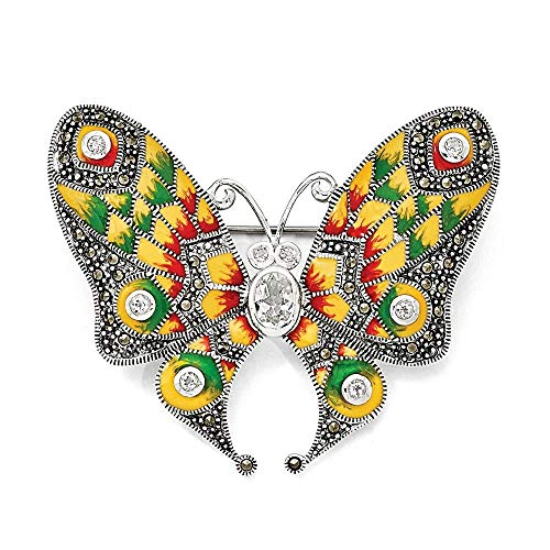 (Sterling Silver Marcasite, Enamel and White Topaz Butterfly Pin Brooch)