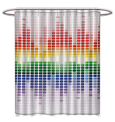 Anhuthree Music Shower Curtains Sets Bathroom Rainbow Digital Style Equalizer Amplifier Recording Equipment Night Club Disco Theme Bathroom Accessories W69 x L75 -